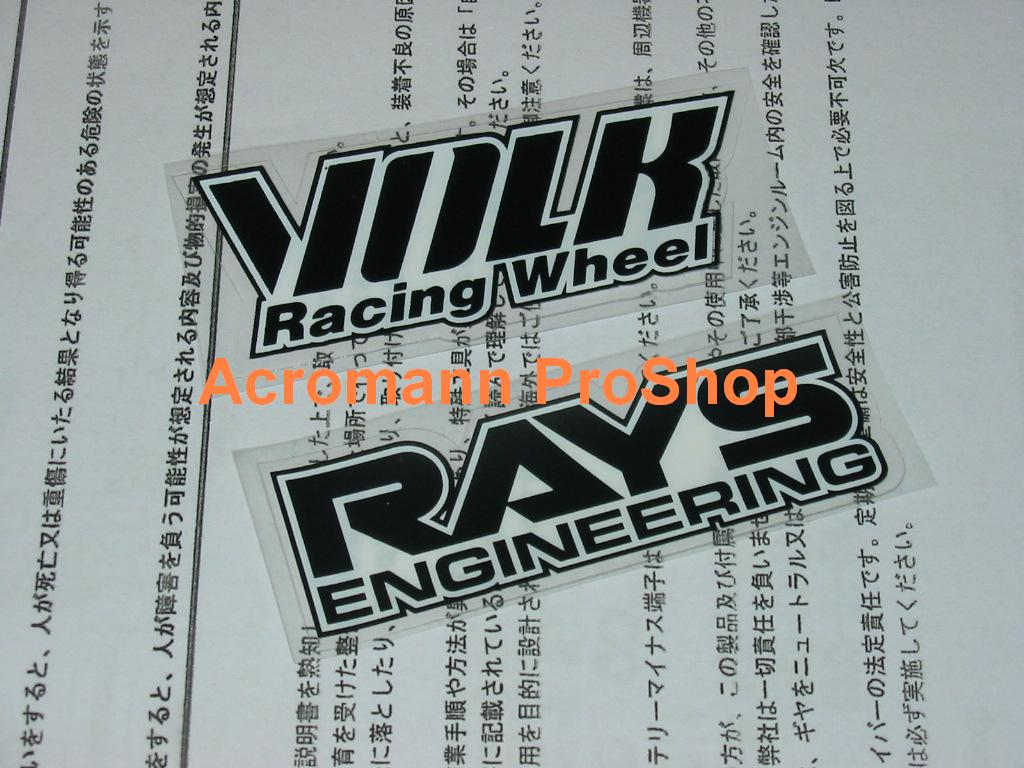 TE37 Volk Racing (BLACK) alloy Wheel Printed Decal Set x 3 sets