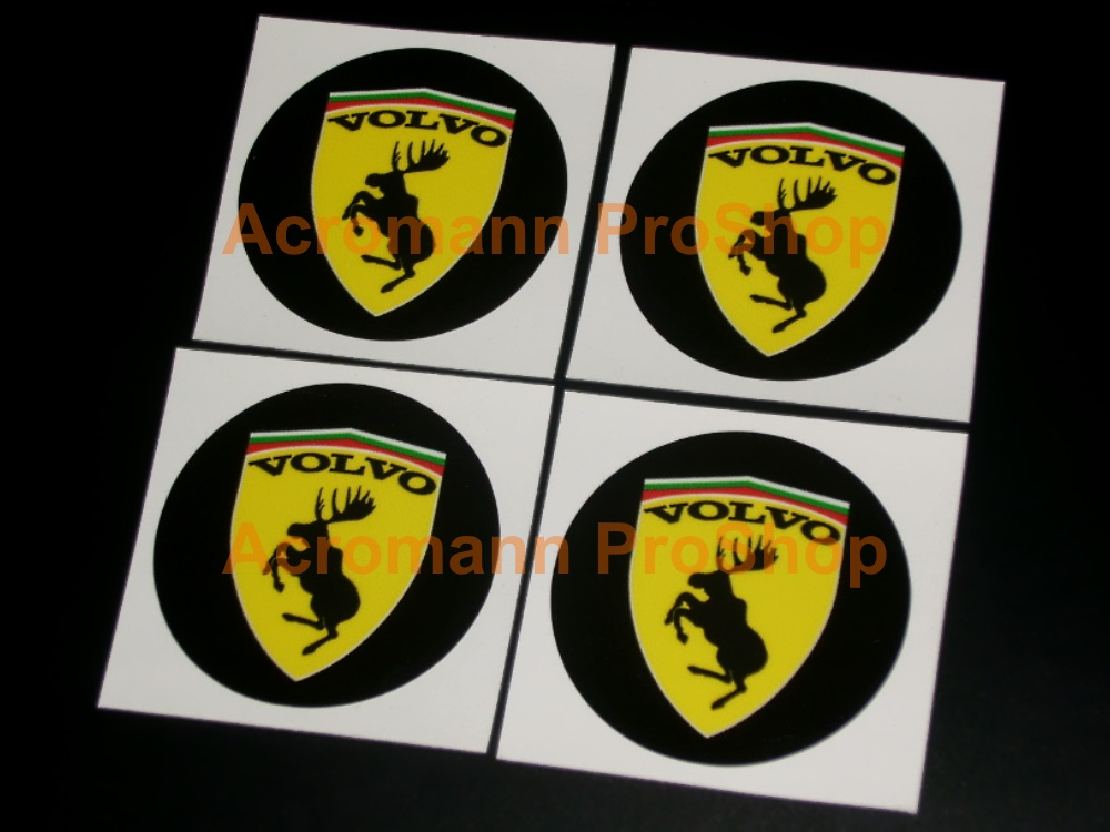 Volvo Prancing Moose 2.2inch Wheel Cap Decal x 4 pcs