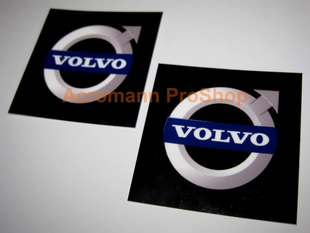VOLVO Logo Printed Grill Emblem Cap Decal (Style#1) x 2 pcs