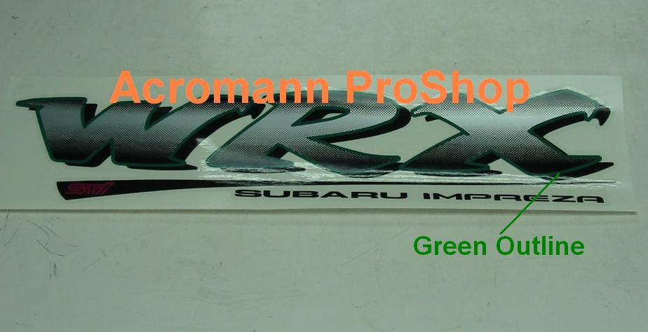 WRX STi Subaru Impreza Tailgate Rear Trunk Decal (GREEN/BLACK)