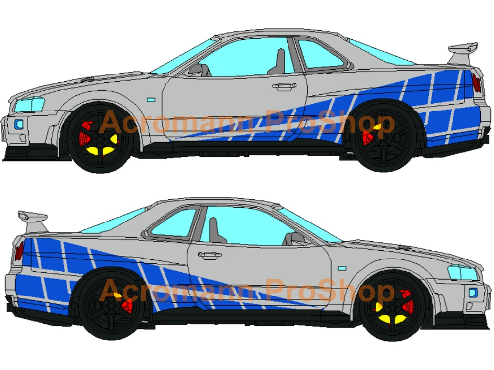 Fast and Furious GTR Style Side Stripe Decal (Style#2) x 1 pair