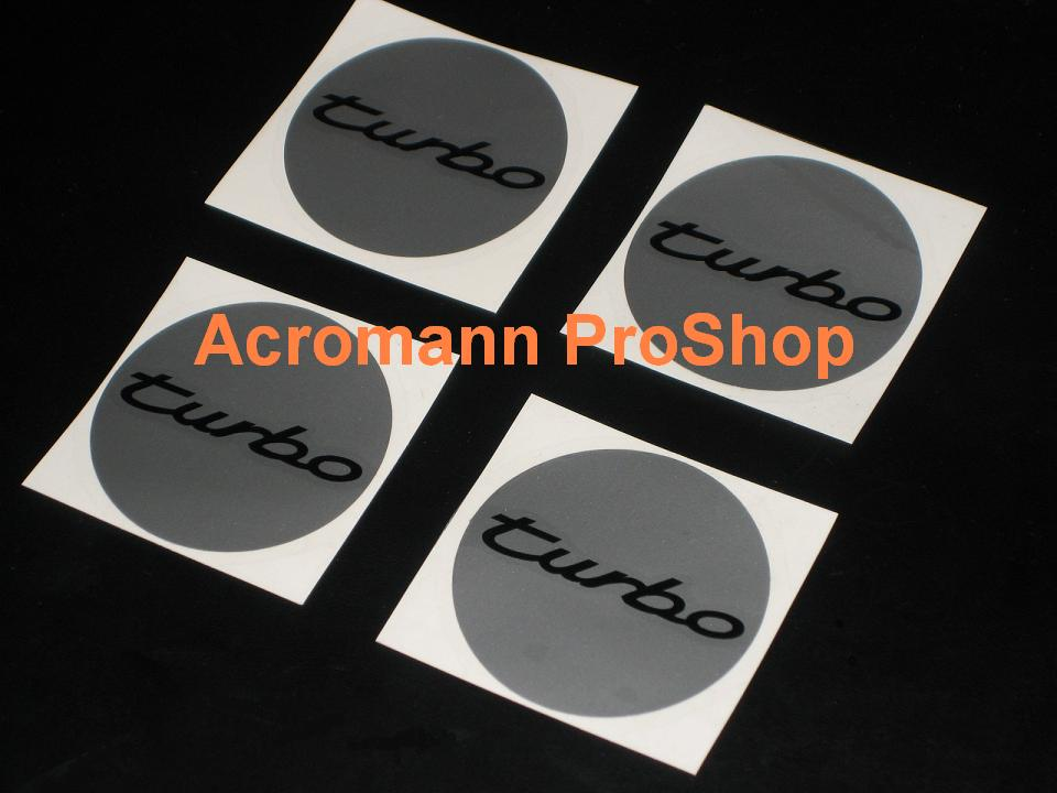Porsche turbo 2.2inch Wheel Cap Decal x 4 pcs